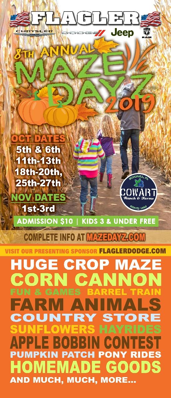 Maze Dayz 2019 Fall Festival Pumpkins, Maze, hayrides pony rides