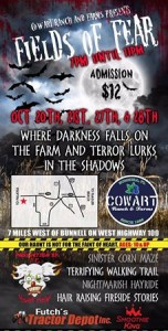 Fields of Fear haunted hayride, maze, walking trail and more. Click on the picture for more info!